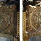 Restauro chiesa S. Teresa a Torino - particolare della volta della cappella di San Giovanni prima e dopo l'intervento di restauro
